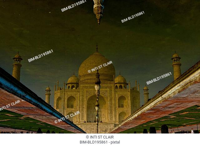 Taj Mahal reflection in pond