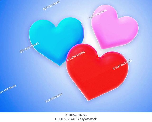Colorful of love to created by three dimensional software