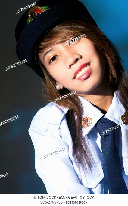 Female Philippine security guard