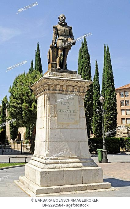 Statue of Miguel de Cervantes, monument, poet, Valladolid, Castile and León, Spain, Europe, PublicGround