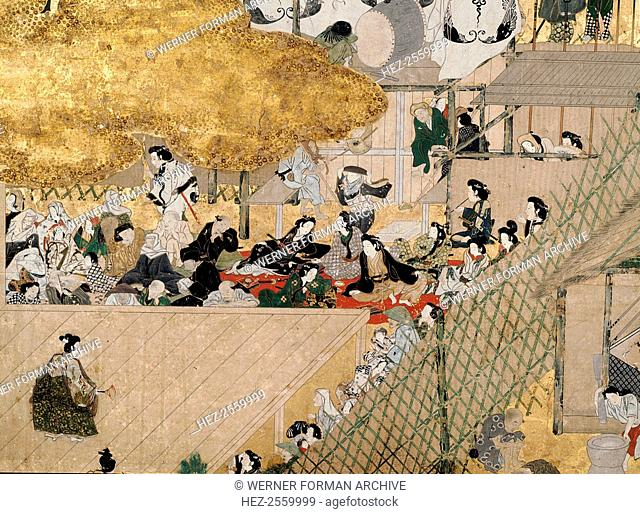 A screen depicting the popular festivities that took place at Shijo-gawa, Kyoto. Theatre and music performances, family picnics and other entertainments can be...