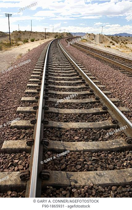A pair of railroad tracks in the Southern California Desert