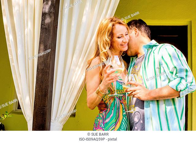 Mature couple relaxing with white wine in garden porch