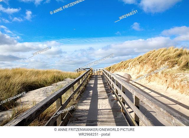 Germany, Schleswig-Holstein, Sylt, Kampen, Dune path - over the bridge to the dunes