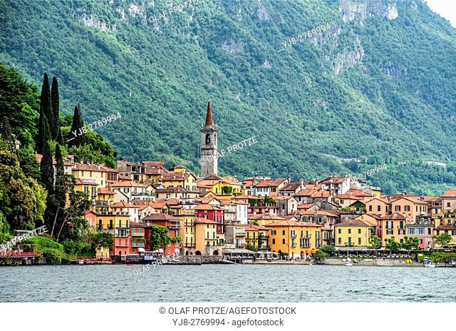 View at Varenna at Lake Como seen from the lakeside, Lombardy, Italy