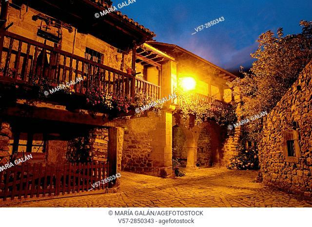 Street at night. Barcena Mayor, Cantabria, Spain