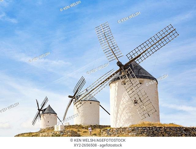 Consuegra, Toledo Province, Castilla-La Mancha, Spain. Windmills. They are no longer in use, but are preserved as part of the national heritage and are...