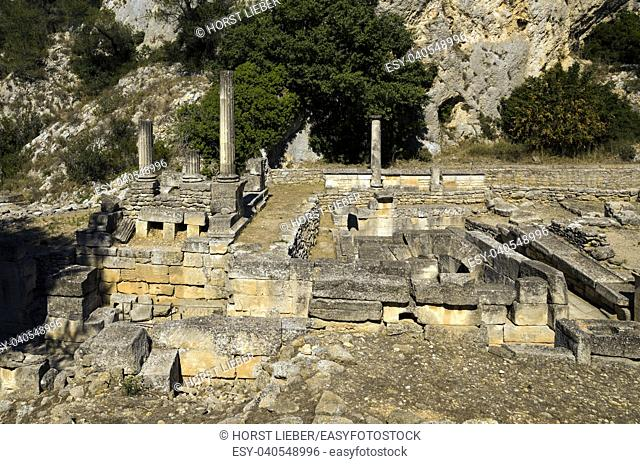 Temple of Valetudo in Glanum. Saint Remy de Provence, Bouches du Rhone, Provence, France
