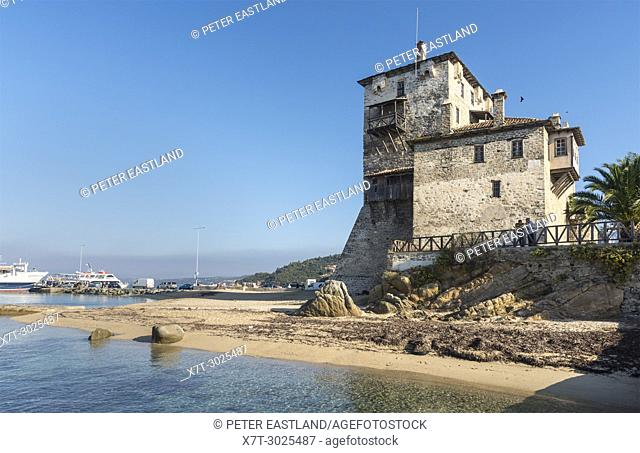 The Prosphorios tower, on the beach at Ouranoupoli, (at the top of the Athos Peninsula) Chalkidiki, Macedonia, Northern Greece