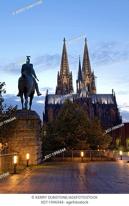 Cologne Cathedral with statue of member of Hohenzollern family, Cologne, Rhine-Westphalia, Germany