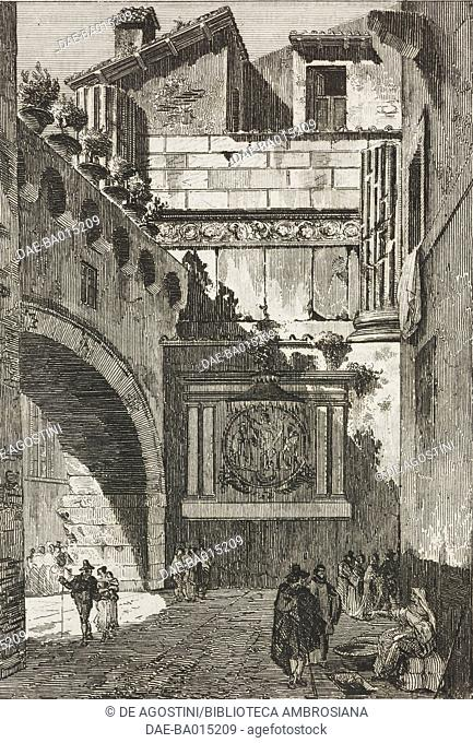 View of the Temple of Jupiter Anxur in Terracina, engraving from L'album, giornale letterario e di belle arti, March 6, 1841, Year 8