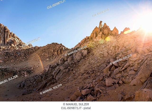 Sunlit rugged mountain landscape, Nahuel Huapi National Park, Rio Negro, Argentina