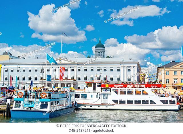 Sightseeing boats, Kauppatori, market square, Helsinki, Finland, Europe