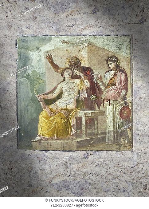 A Roman erotic fresco painting from Pompeii depicting Satyr caressing Hermaphrodite, Naples National Archaeological from the tablium of the Casa di Epidio...