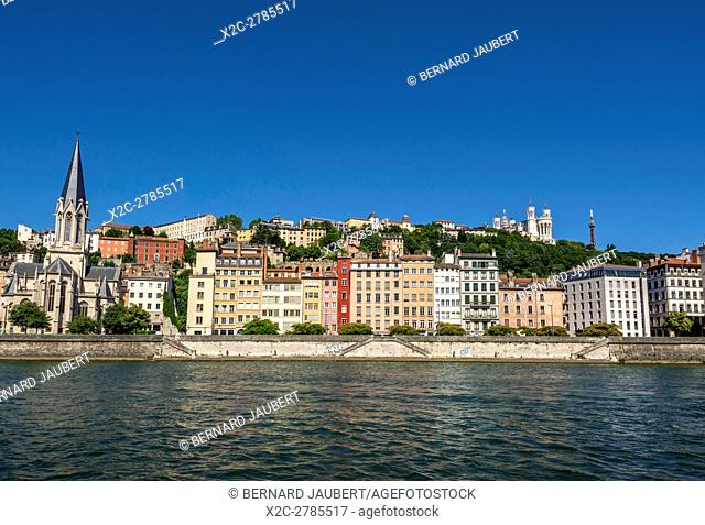 The old town across the Saone River and the Church of Saint Georges. Lyon. Rhone. France. Europe