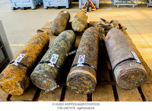 Poelkapelle, Belgium. Army Battalion for Demolition of Explosives. Collection of live World War 1 shells, explosives and munition