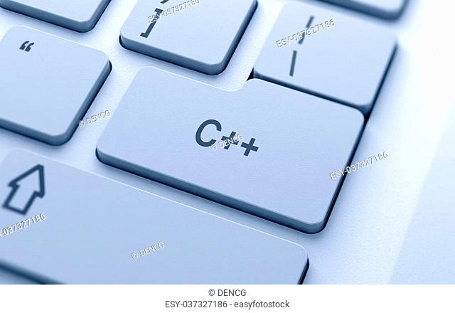 C++ word button on computer keyboard with soft focus
