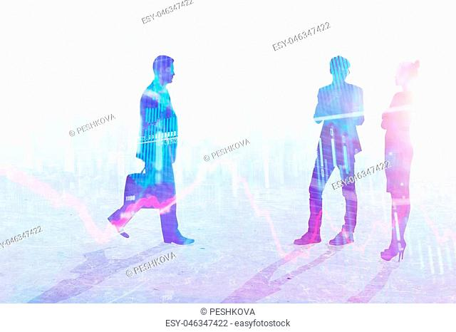 Teamwork, meeting and forex concept. Businesspeople crowd silhouettes on light city office background. Double exposure