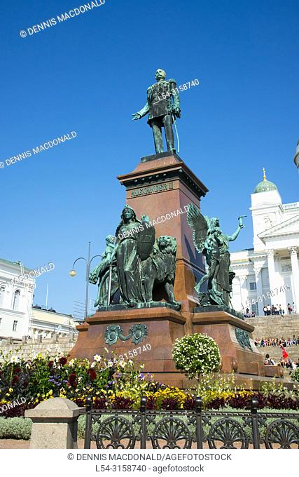 statue of emperor Alexander II in Senate Square in front of Helsinki Cathedral Helsinki Findland is the capital city and most populous municipality of Finland...