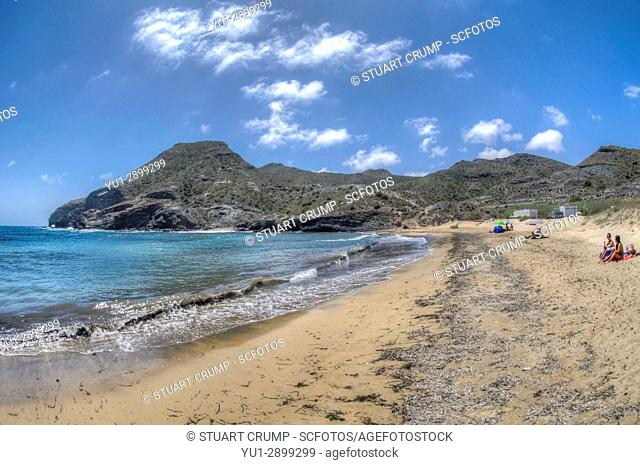 HDR image of the Beach at Cala Reona in Murcia Spain