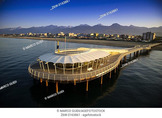 View on the Lido di Camaiore jetty Versilia Tuscany Italy