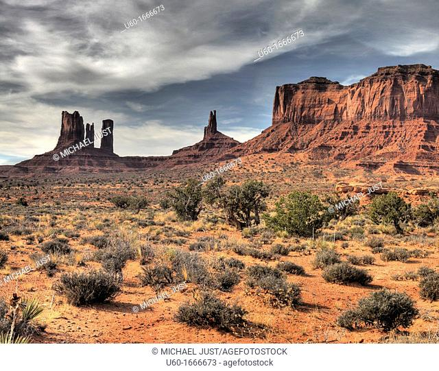 Spires, buttes and pinnacles make up the sandstone landscape at Monument Valley Tribal Park on the Utah-Arizona border