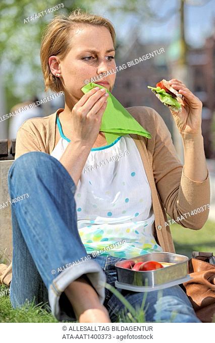 Woman takes a lunch break