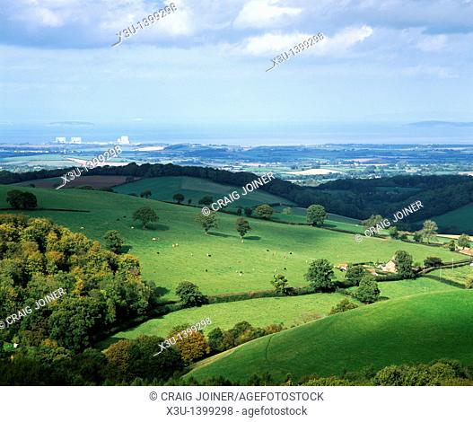 View from Cothelstone Hill at Cothelstone over the Quantock Hills and Bridgwater Bay, Somerset, England, United Kingdom