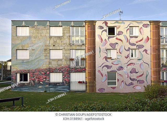 Fresques de Bel-Air, 4000m2 de fresques peintes en trompe-lâ. . œil sur des immeubles du quartier de Bel-air, Chartres, departement d'Eure-et-Loir