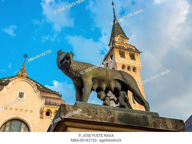 Romania, Targu Mures City, Romulus and Remus Monument