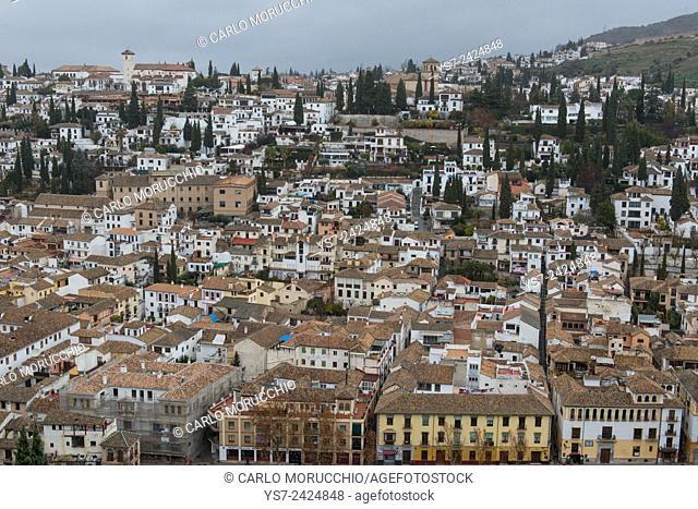 The Albaycin neighborhood seen from the Alhambra, Granada, Andalusia, Spain