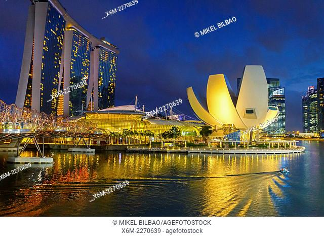 ArtScience Museum and Marina Bay Sands Hotel at night. Singapore, Asia