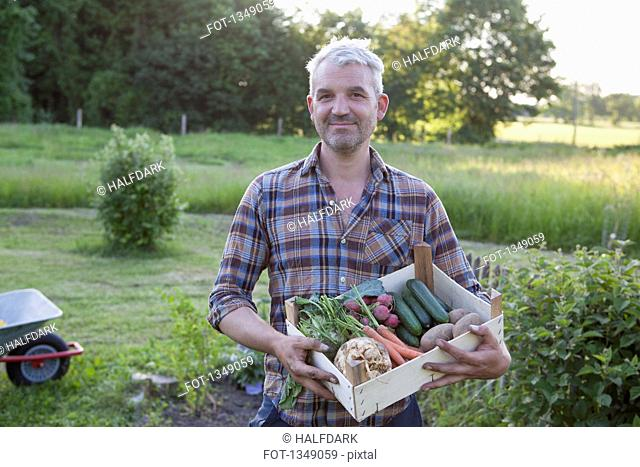 Portrait of smiling mature man carrying crate of freshly harvested vegetables at garden