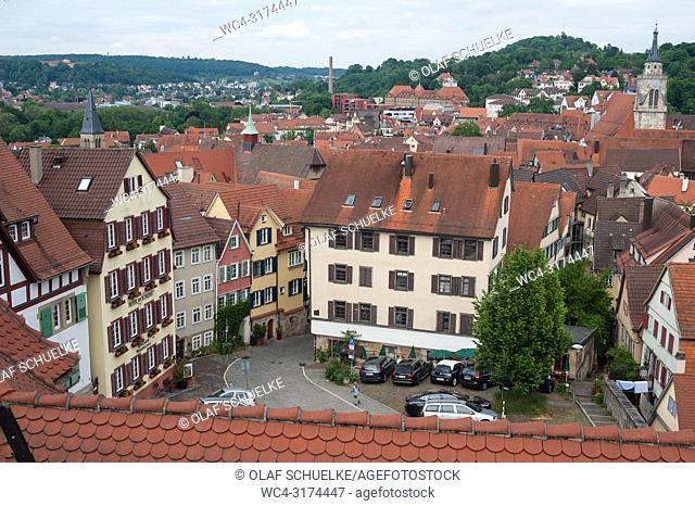 05. 06. 2017, Tuebingen, Baden-Wuerttemberg, Germany, Europe - An elevated view of Tuebingen's old town
