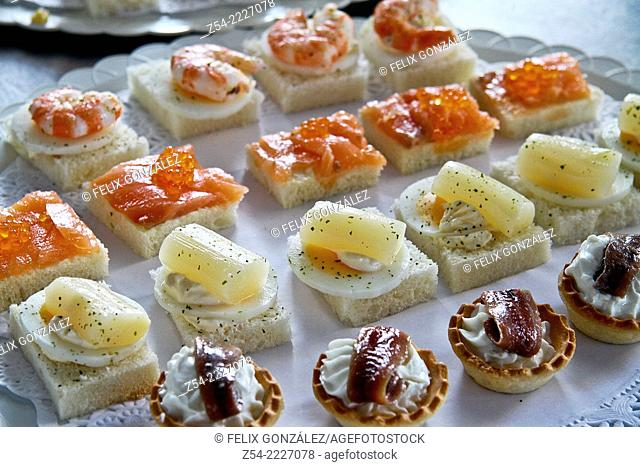 Prawn,anchovy, pink salmon, asparagus canapes