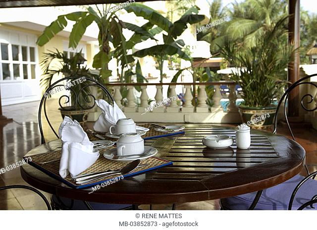 Vietnam, Mekong-Delta, hotel, terrace, breakfast-table, covered, Asia, southeast-Asia, destination, gastronomy, tourism, hotel-terrace, breakfast, table
