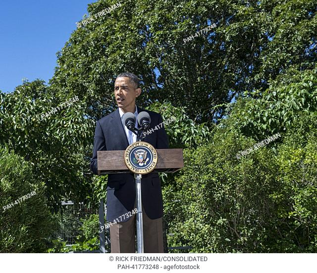 United States President Barack Obama makes a statement on the situation in Egypt from the driveway of his vacation house in Chilmark