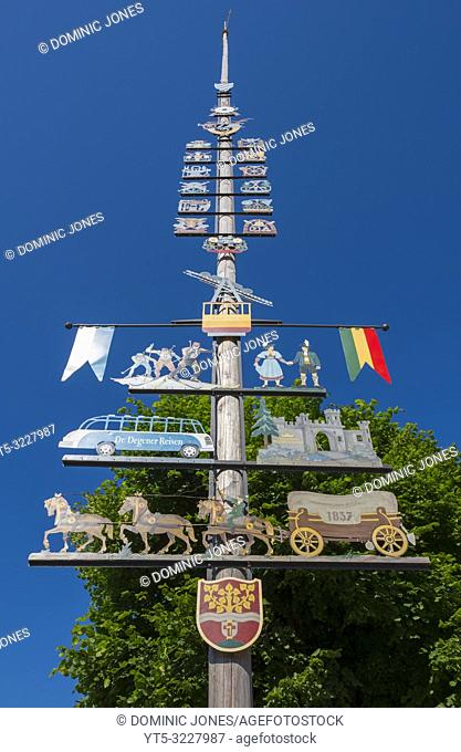 The traditional pole in the village square of Ruhpolding, Upper Bavaria, Germany, Europe