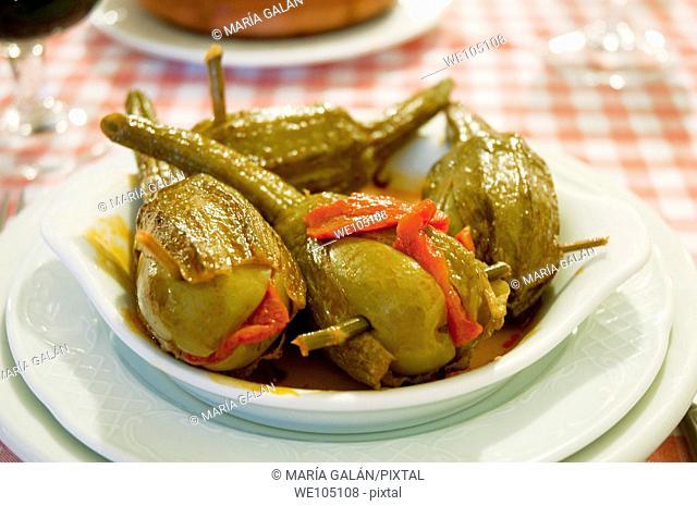 Almagro aubergines serving. Ciudad Real province, Castilla La Mancha, Spain