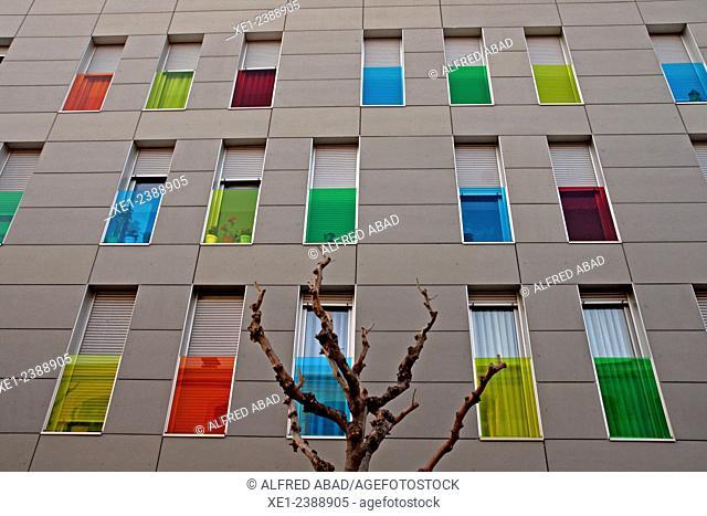 Colorful balconies, residential building, Molins de Rei, Catalonia, Spain