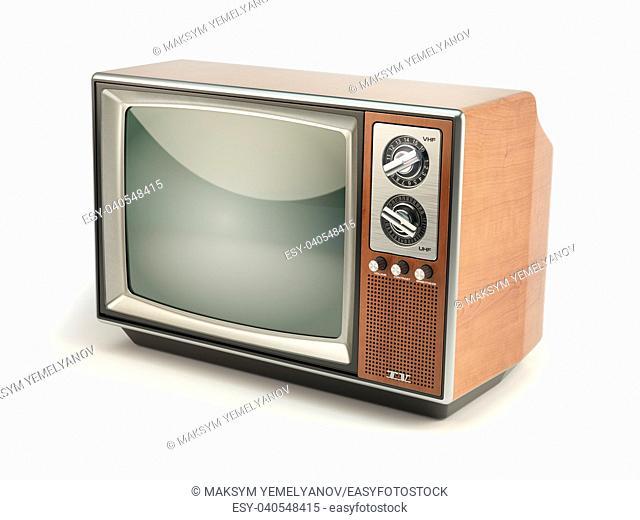 Vintage TV set isolated on white background. Communication, media and television concept. 3d illustration