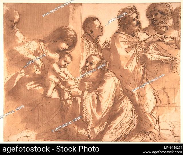 The Adoration of the Magi. Artist: Guercino (Giovanni Francesco Barbieri) (Italian, Cento 1591-1666 Bologna); Date: 1625-30; Medium: Pen and brown ink