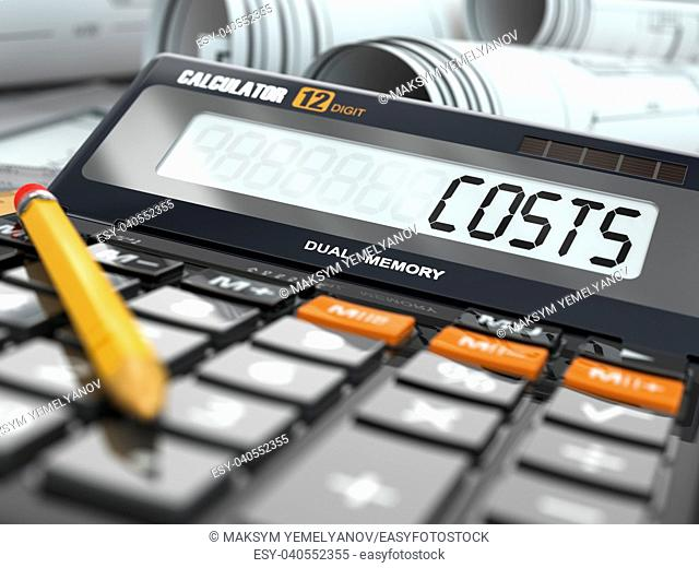 Concept of costs calculation, Calculator. Three-dimensional image