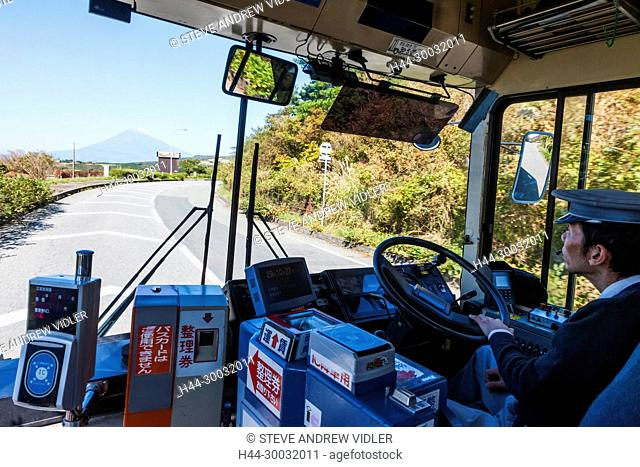 Japan, Honshu, Fuji-Hakone-Izu National Park, Local Bus Approaching Mt.Fuji