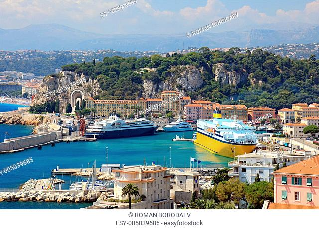 Harbor with luxury yachts, cruise ships of the city of Nice, Fra