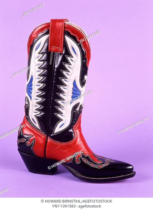 Product shot of a highly decorative cowboy boot