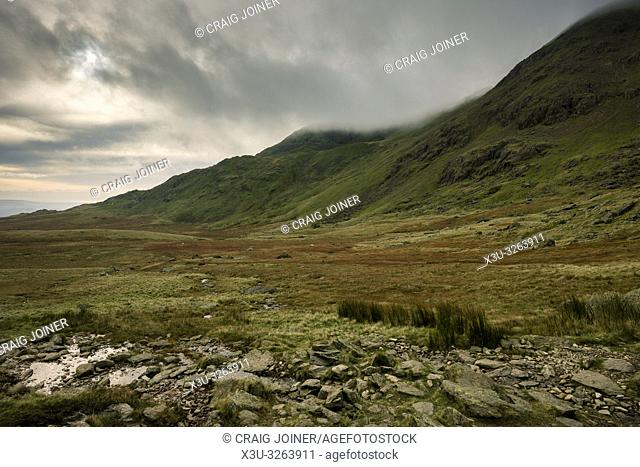 The Cove and Brown Pike from southern flank of The Old Man of Coniston in the Lake District National Park, Cumbria, England