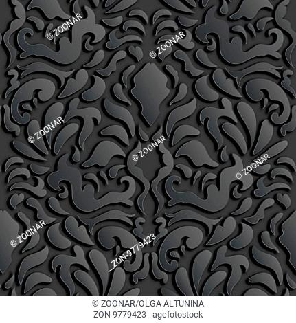 Seamless Damask Pattern With Shadows