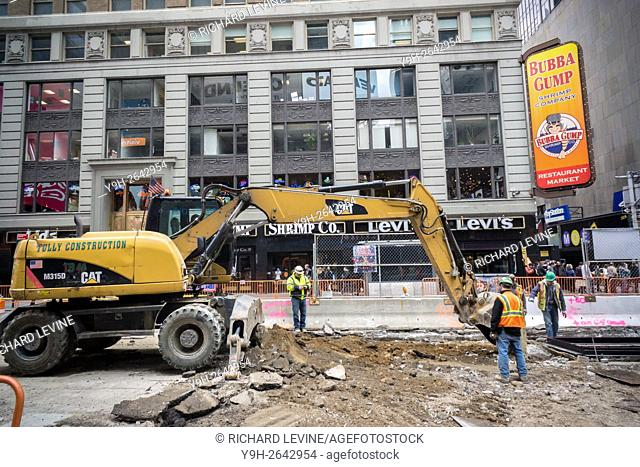 Caterpillar brand construction equipment in Times Square in New York