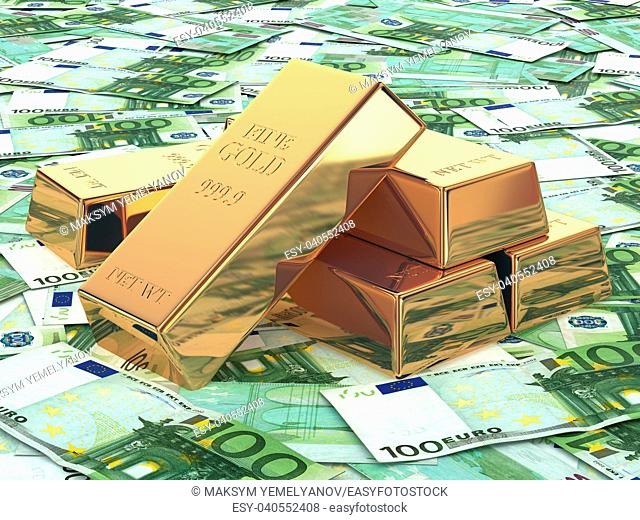 Gold ingots on background from euro banknotes. 3d